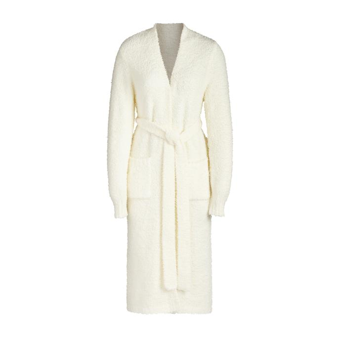 COZY KNIT ROBE by Skims, available on skims.com for $128 Kim Kardashian Outerwear Exact Product