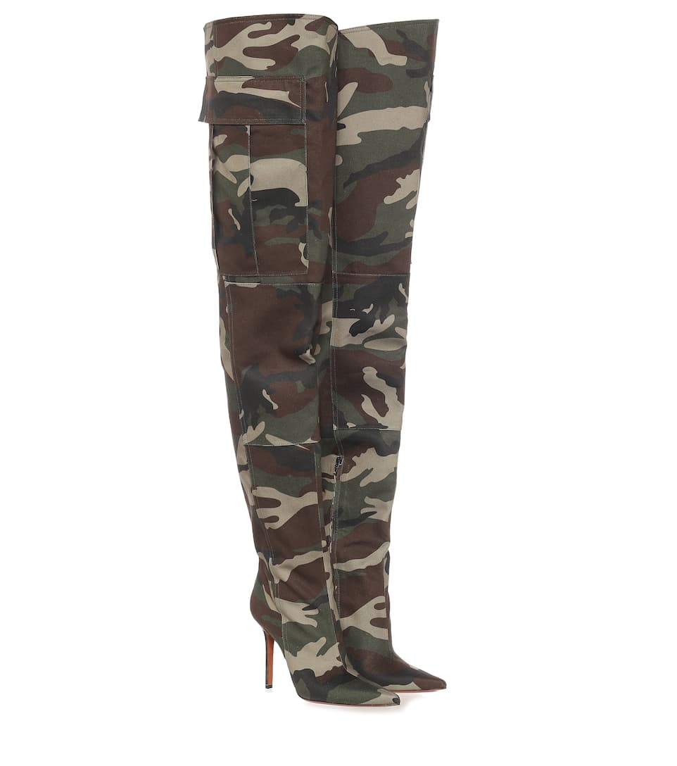 Camo canvas over-the-knee boots by Vetements, available on mytheresa.com for EUR1323 Kim Kardashian Shoes Exact Product