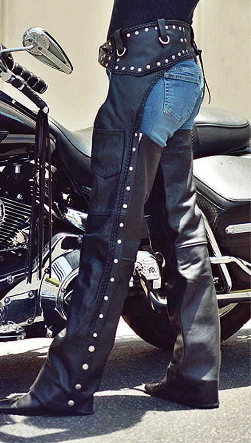 Custom Studded Leather Biker Chaps by Bad Ass Chaps, available on baddasschaps.com for $229 Kim Kardashian Pants SIMILAR PRODUCT