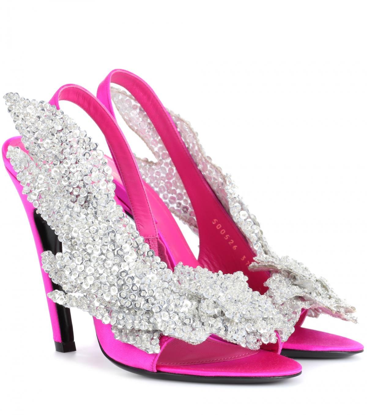 Embellished satin sandals by Balenciaga, available on mytheresa.com for $1390 Kim Kardashian Shoes Exact Product
