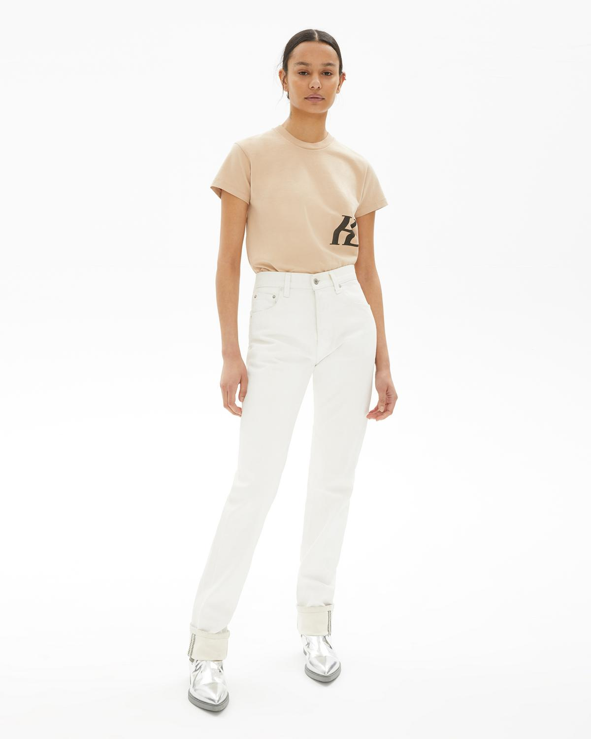 Masc Hi Straight Jeans In White by Helmut Lang, available on helmutlang.com for $128 Kim Kardashian Pants Exact Product