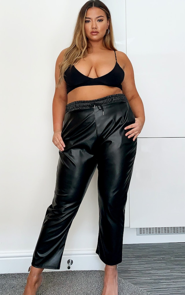 Plus Black PU Jogger by Pretty Little Thing, available on prettylittlething.com for $19 Kim Kardashian Pants SIMILAR PRODUCT