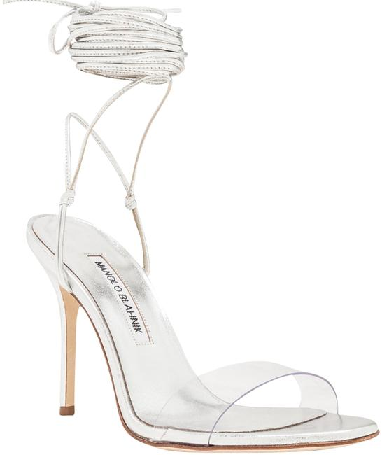 Silver Nappa Priscestro by Manolo Blahnik, available on tradesy.com for $464 Kim Kardashian Shoes Exact Product