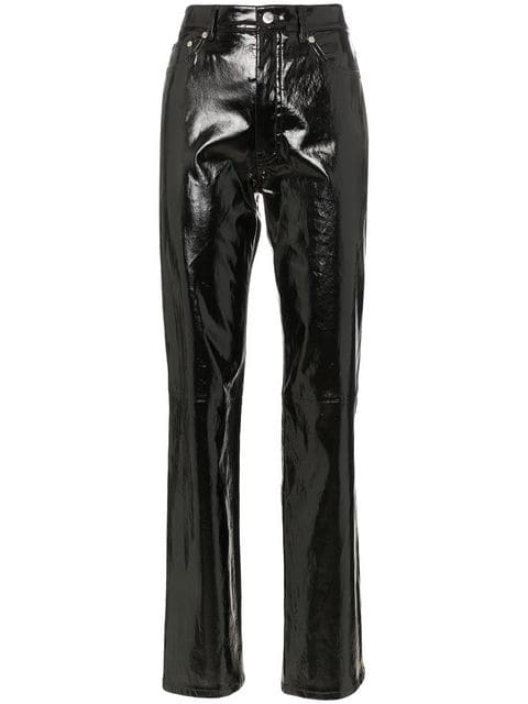 Straight Leg Patent Leather Trousers by Helmut Lang, available on farfetch.com Kim Kardashian Pants Exact Product