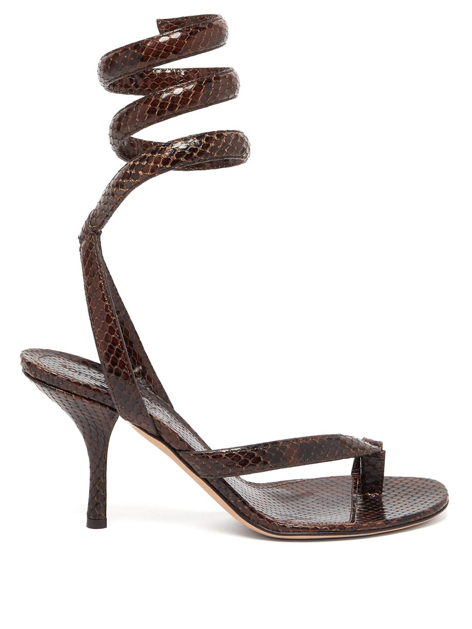 The Spiral wraparound snake-effect leather sandals by Bottega Veneta, available on matchesfashion.com for EUR864 Kim Kardashian Shoes Exact Product