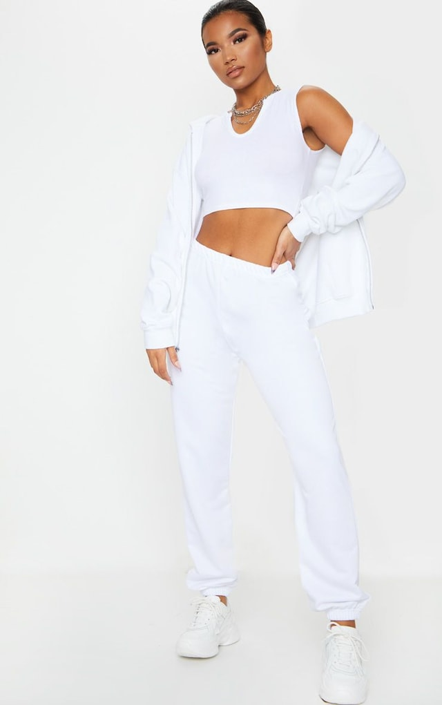 White Basic Cuffed Hem Jogger by Pretty Little Thing, available on prettylittlething.com for £12 Kim Kardashian Pants SIMILAR PRODUCT