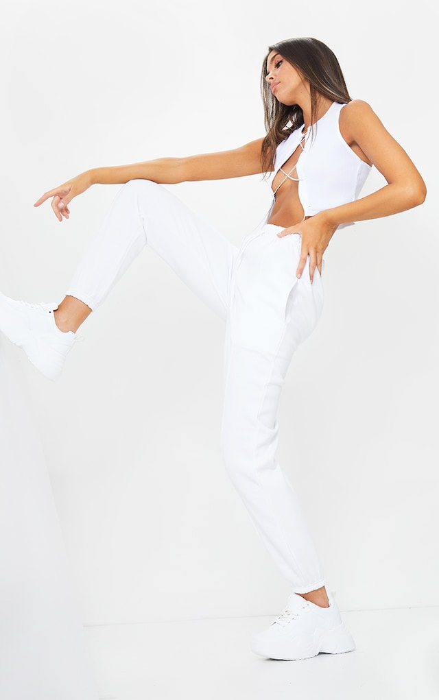 White Seam Front Detail Joggers by Pretty Little Thing, available on prettylittlething.com for £18 Kim Kardashian Pants SIMILAR PRODUCT