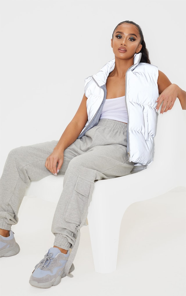 Petite Grey Cargo Casual Jogger by Pretty Little Thing, available on prettylittlething.com for $13 Kourtney Kardashian Pants SIMILAR PRODUCT