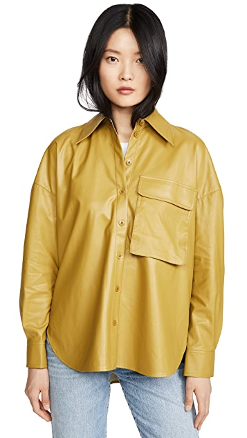 Relaxed Faux Leather Utility Shirt by TIBI, available on shopbop.com for $197 Kourtney Kardashian Outerwear Exact Product