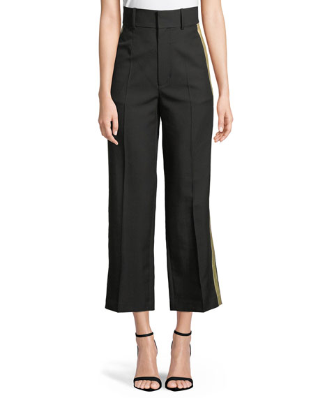 Shifted Cropped Side-Stripe Canvas Tux Pants by Helmut Lang, available on neimanmarcus.com Kourtney Kardashian Pants Exact Product