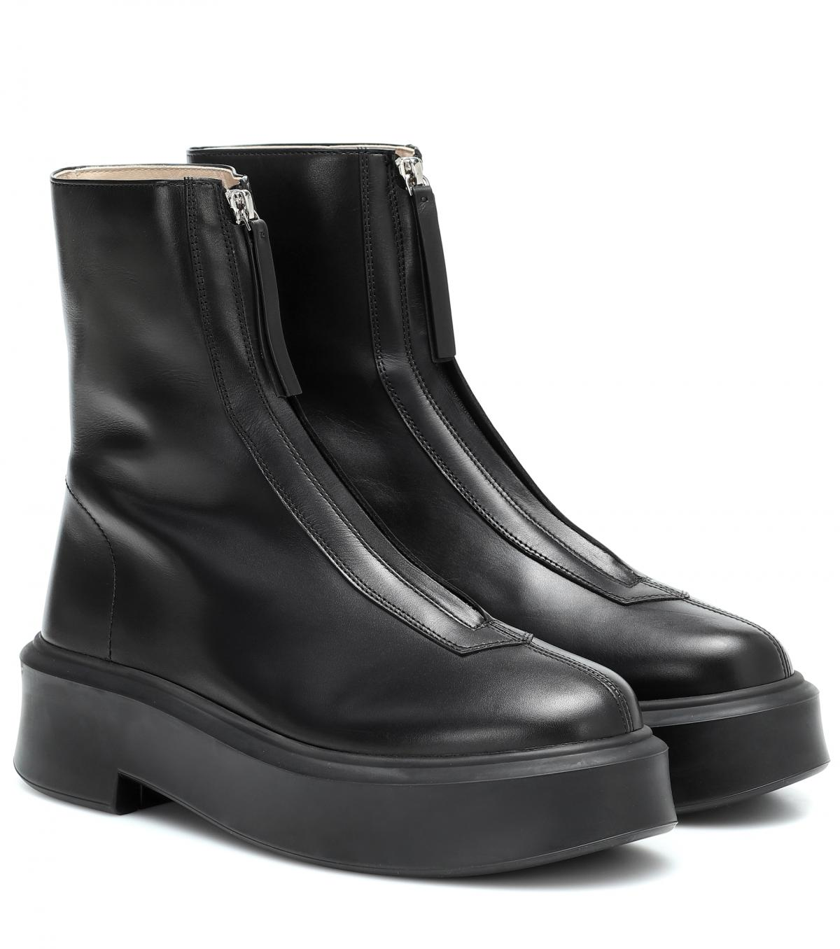 Zipped 1 leather ankle boots by The Row, available on mytheresa.com for $1290 Kourtney Kardashian Shoes Exact Product