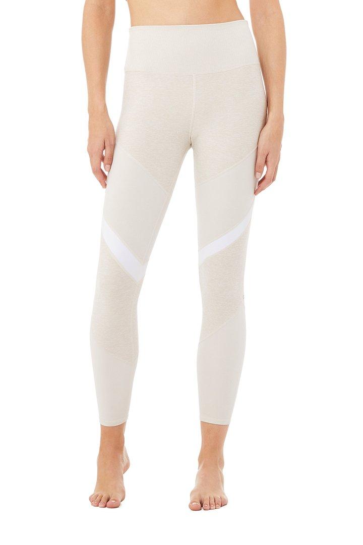 7/8 High-Waist Alosoft Sheila Legging - Bone Heather/Bone/White by Alo Yoga, available on aloyoga.com for $98 Kylie Jenner Pants SIMILAR PRODUCT