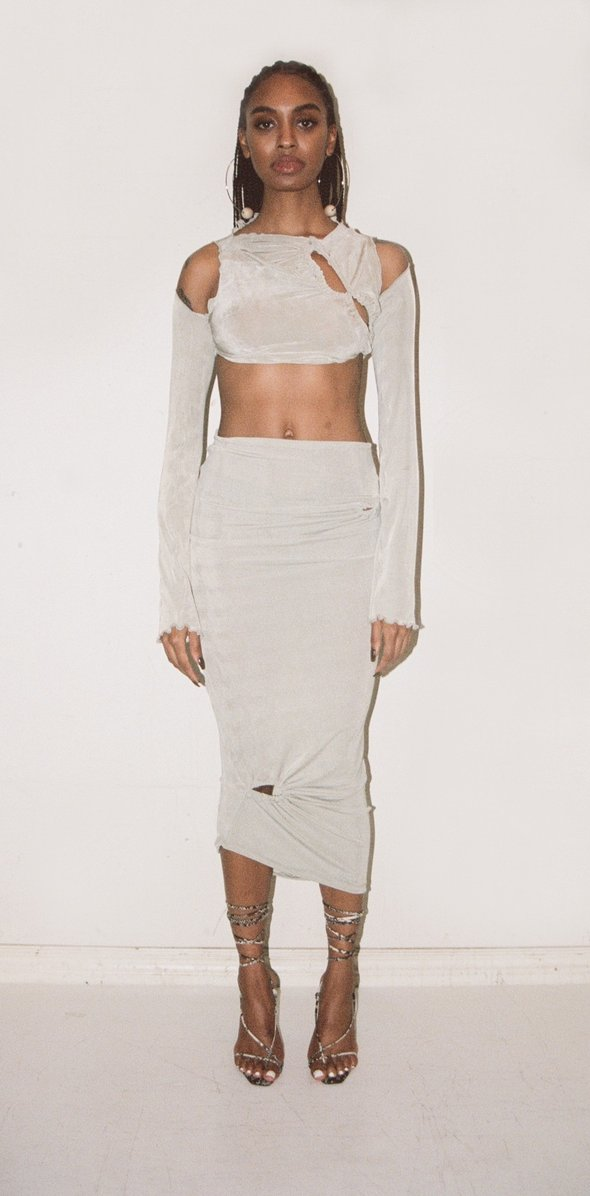 ASYMMETRICAL GATHERED TANK SET by Tyrell, available on tyrell.shop for $260 Kylie Jenner Skirt Exact Product