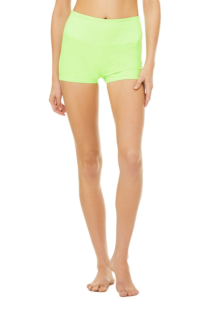 Alosoft Aura Short - Neon Lime Heather by Alo Yoga, available on aloyoga.com for $56 Kylie Jenner Shorts SIMILAR PRODUCT