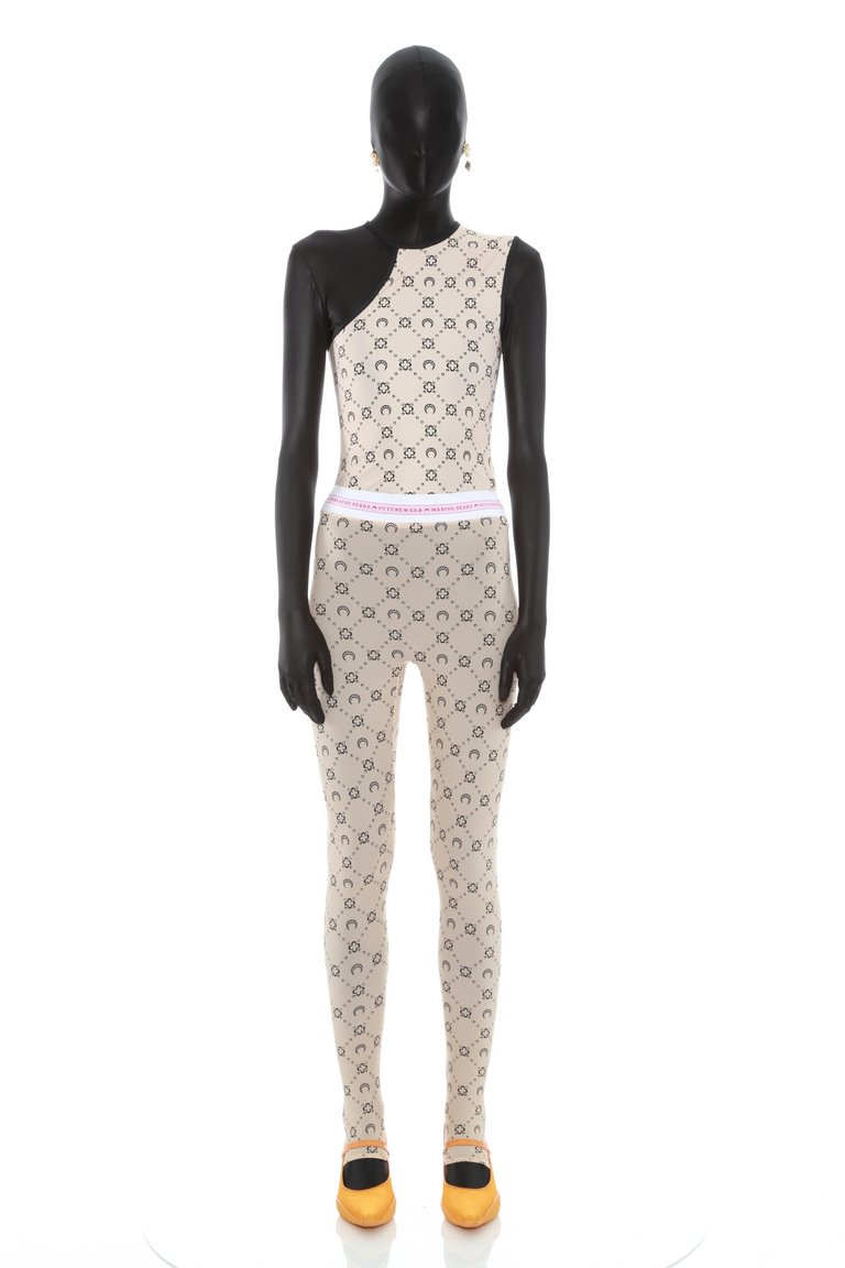 Asymmetric Yoga Top in Monogram Jersey Tan Print by Marine Serre, available on marineserre.com for EUR170 Kylie Jenner Top SIMILAR PRODUCT