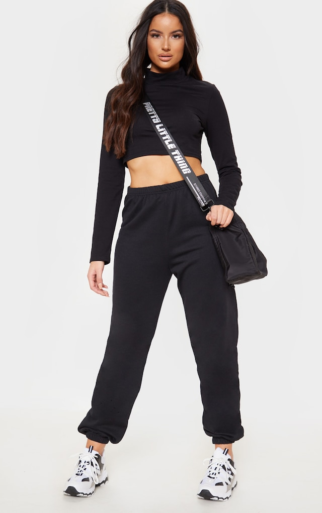 Black Basic Cuffed Hem Jogger by Pretty Little Thing, available on prettylittlething.com for $11 Kylie Jenner Pants SIMILAR PRODUCT