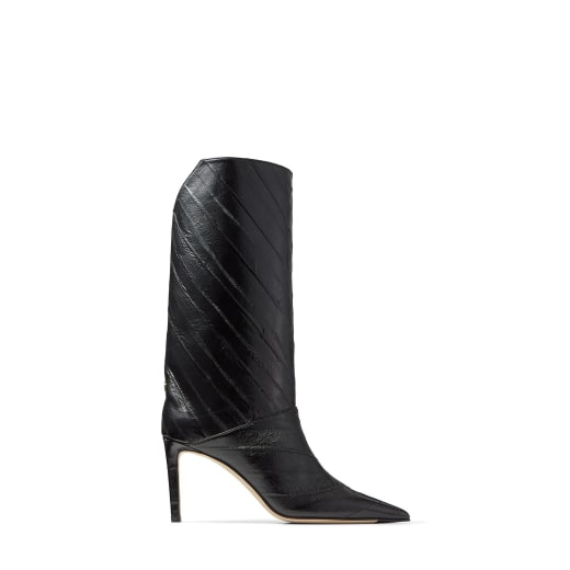 Black Striped Eel Leather Knee-High Boots by Jimmy Choo, available on jimmychoo.com for EUR1125 Kylie Jenner Shoes Exact Product