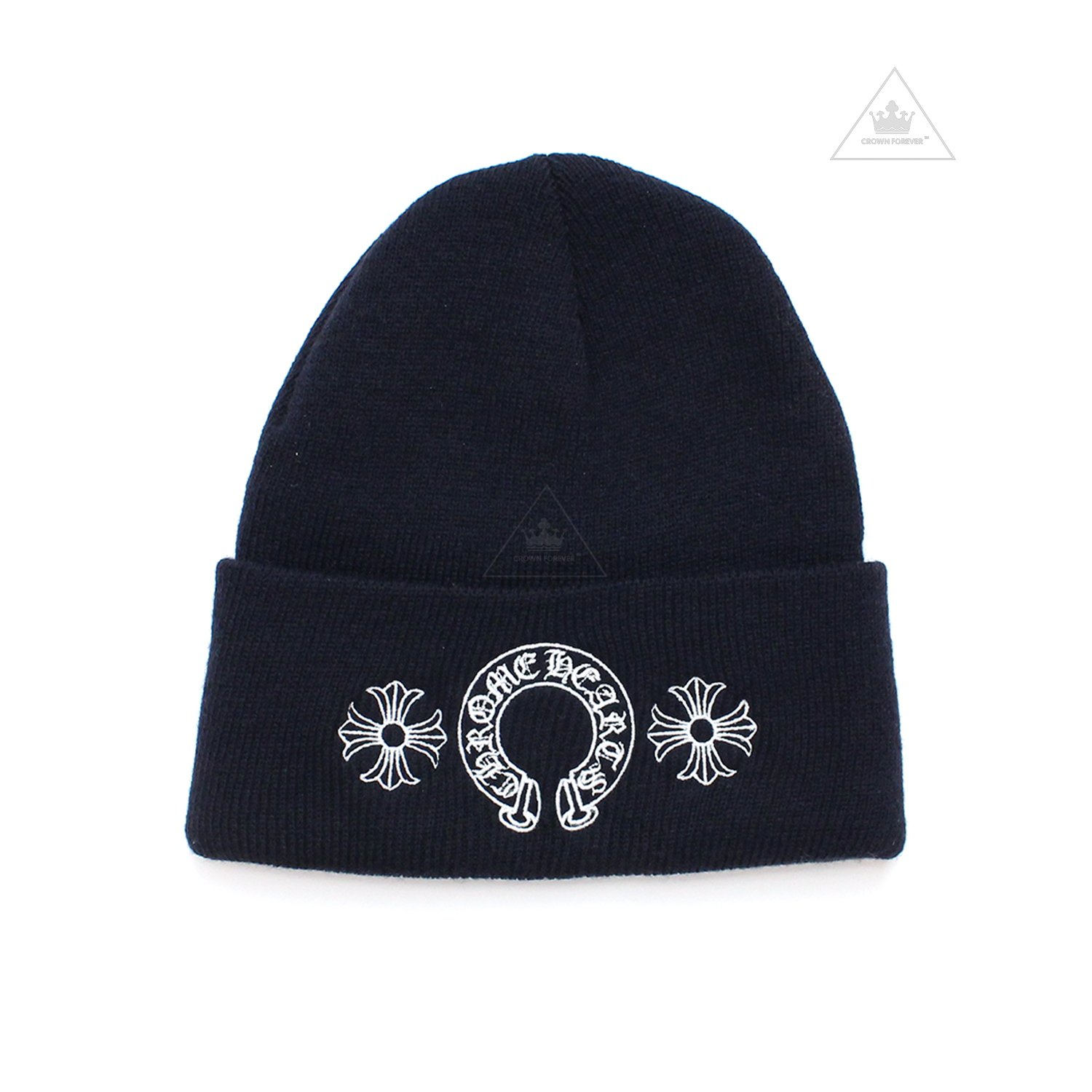 CH Horseshoe Plus Beanie Navy by CHROME HEARTS, available on crownforeverla.com for $250 Kylie Jenner Outerwear SIMILAR PRODUCT