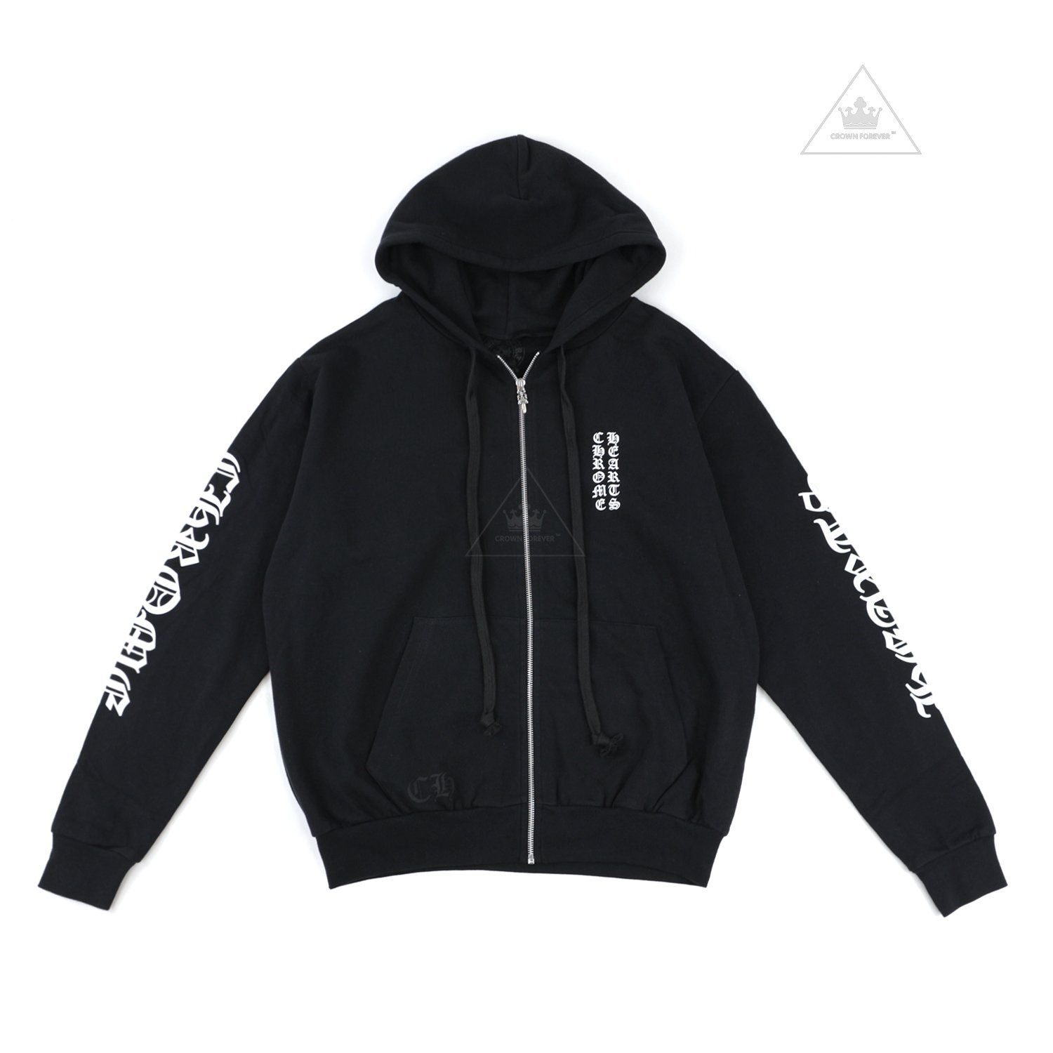 CH Letters Sleeve Fleece Zip Hoodie Black by Chrome-Hearts, available on crownforeverla.com for $550 Kylie Jenner Outerwear SIMILAR PRODUCT