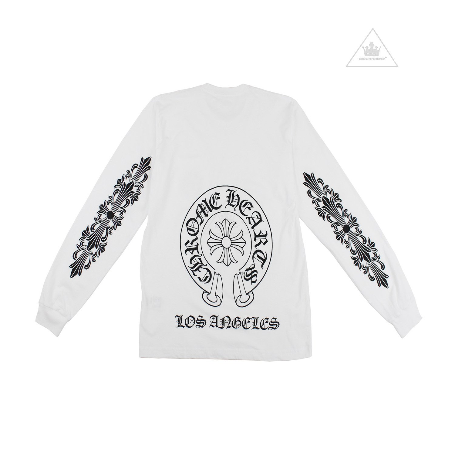 CH Los Angeles Horseshoe Floral Long Sleeve T Shirt White by CHROME HEARTS, available on crownforeverla.com for $350 Kylie Jenner Outerwear SIMILAR PRODUCT