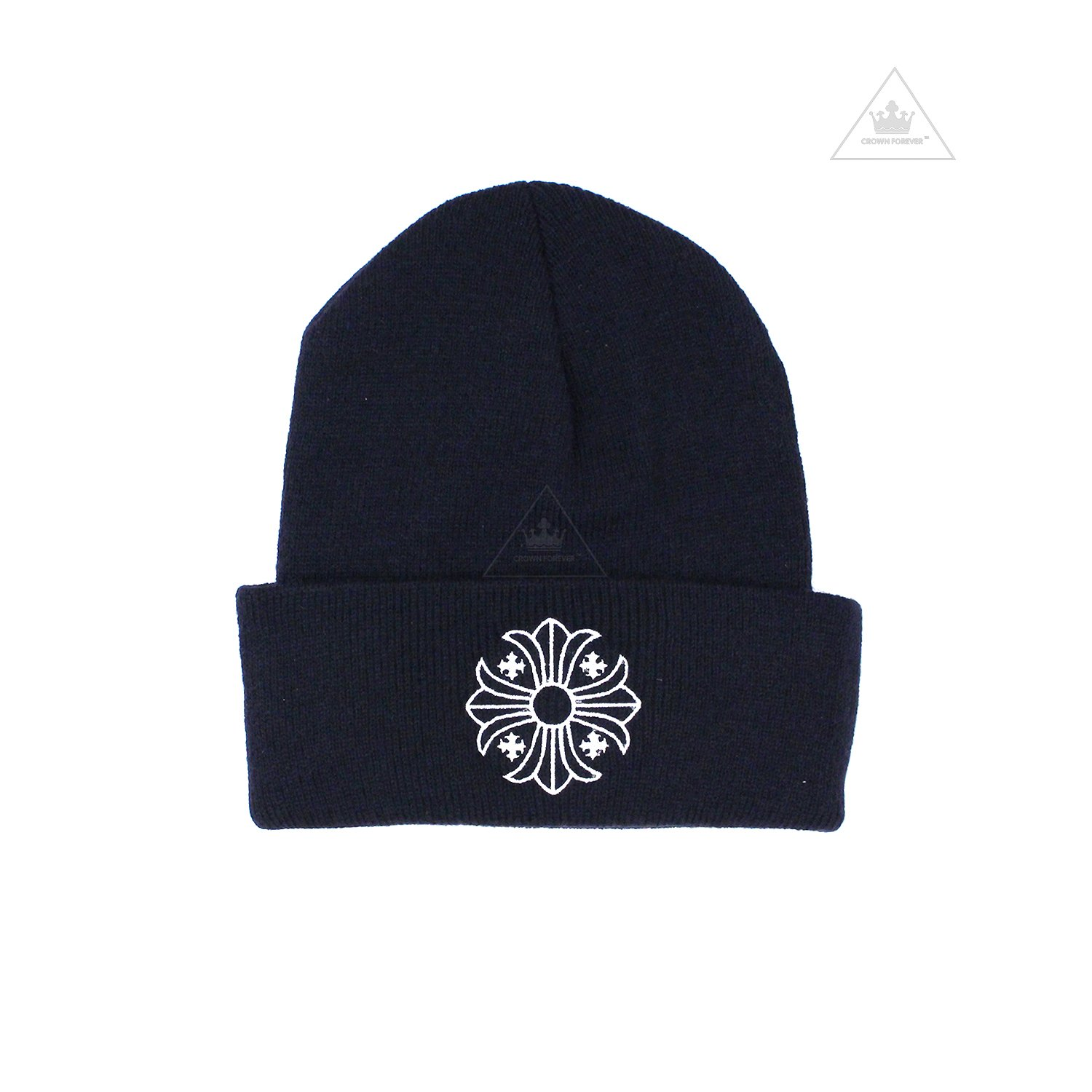 CH Plus Cross Wool Beanie Navy by CHROME HEARTS, available on crownforeverla.com for $260 Kylie Jenner Outerwear SIMILAR PRODUCT