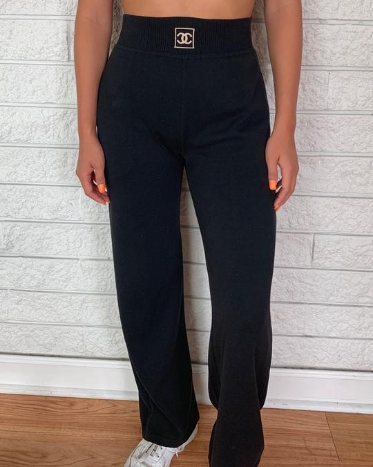 Chanel Black Highwaisted Knit Bottoms by Chanel, available on treasuresofnewyorkcity.com for $690 Kylie Jenner Pants Exact Product