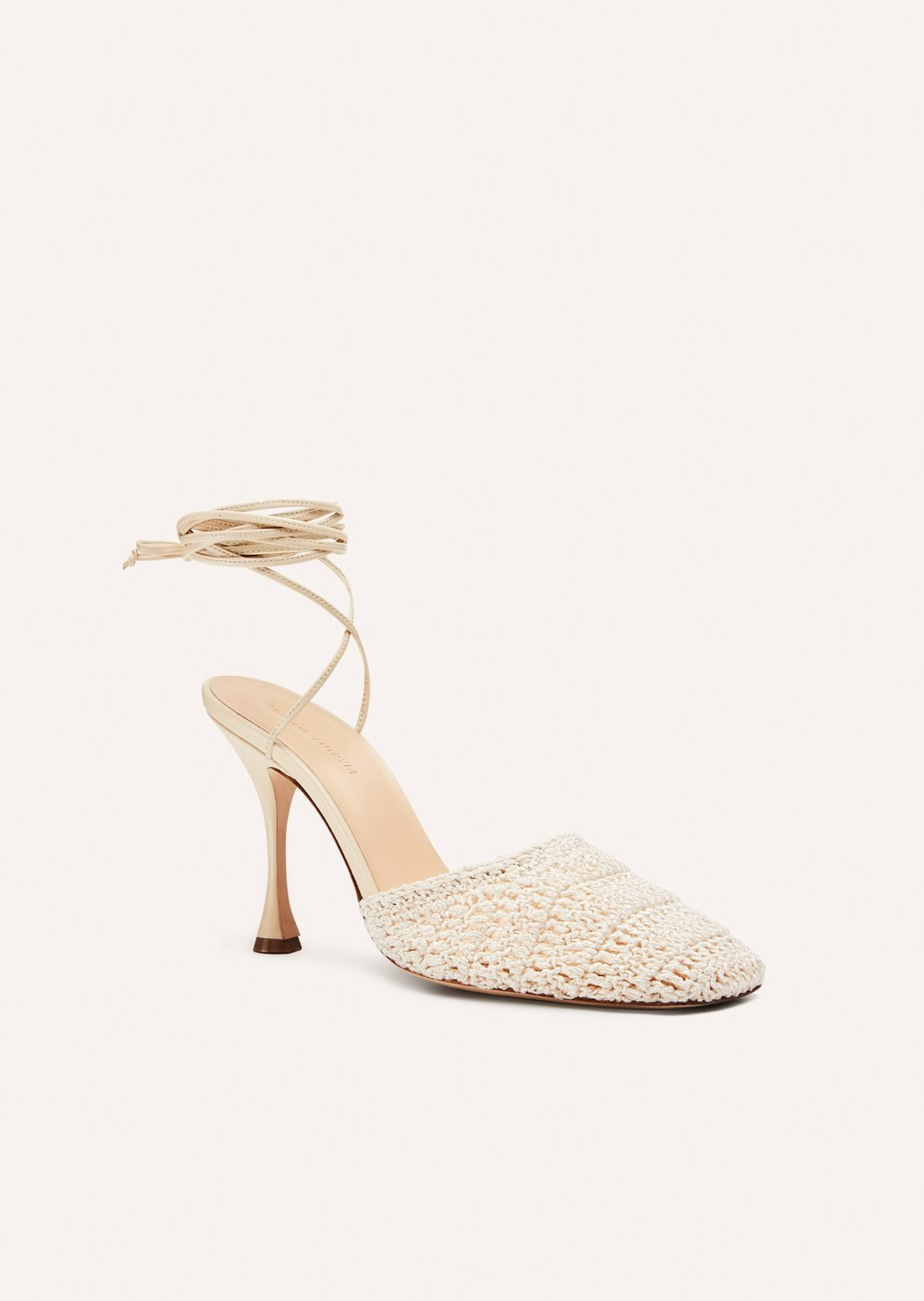 Crochet wrap heels in cream by Magda Butrym, available on magdabutrym.com for $900 Kylie Jenner Shoes Exact Product