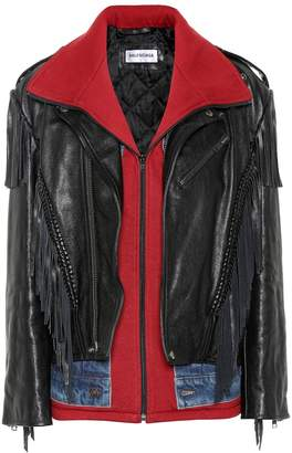Denim-trimmed leather jacket by Balenciaga, available on shopstyle.com for $2647 Kylie Jenner Outerwear SIMILAR PRODUCT