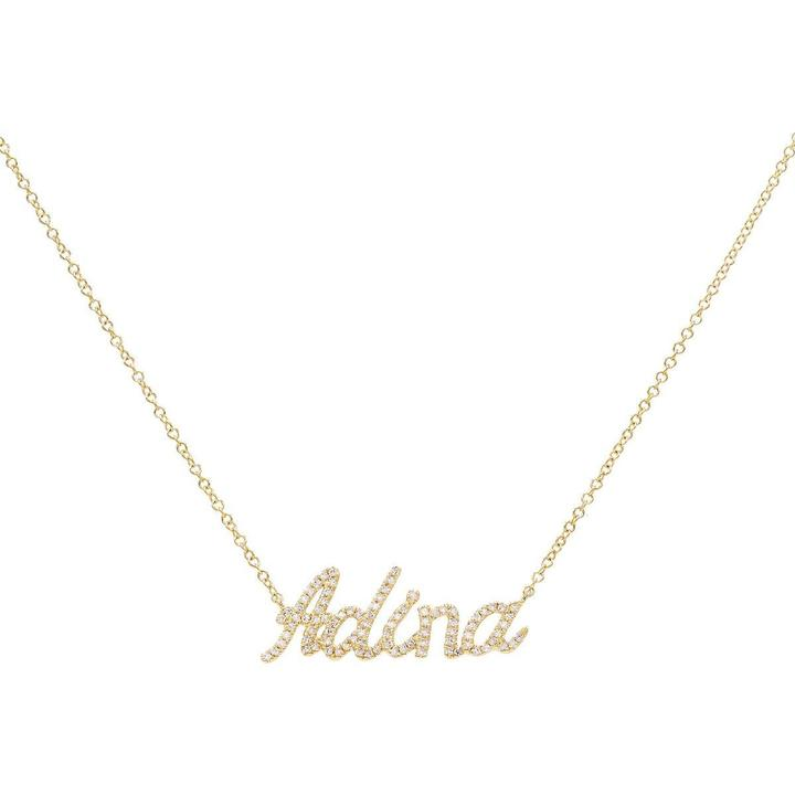 Diamond Script Name Necklace 14K by Adinas Jewels, available on adinasjewels.com for $850 Kylie Jenner Jewellery Exact Product
