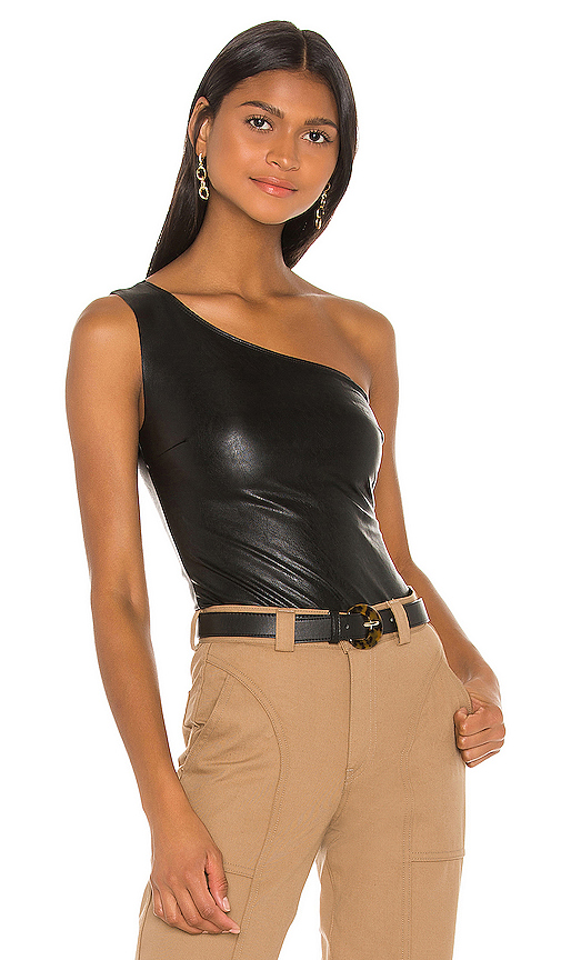 Faux Leather One Shoulder Bodysuit by Commando, available on revolve.com for $98 Kylie Jenner Outerwear SIMILAR PRODUCT