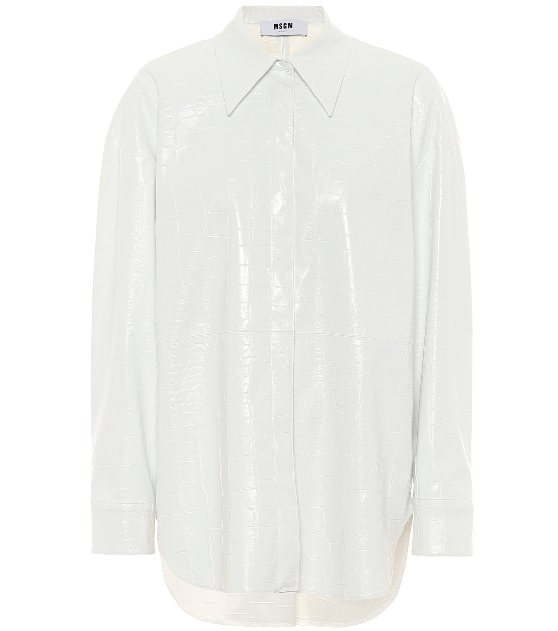 Faux patent leather shirt by MSGM, available on mytheresa.com for EUR234 Kylie Jenner Top Exact Product