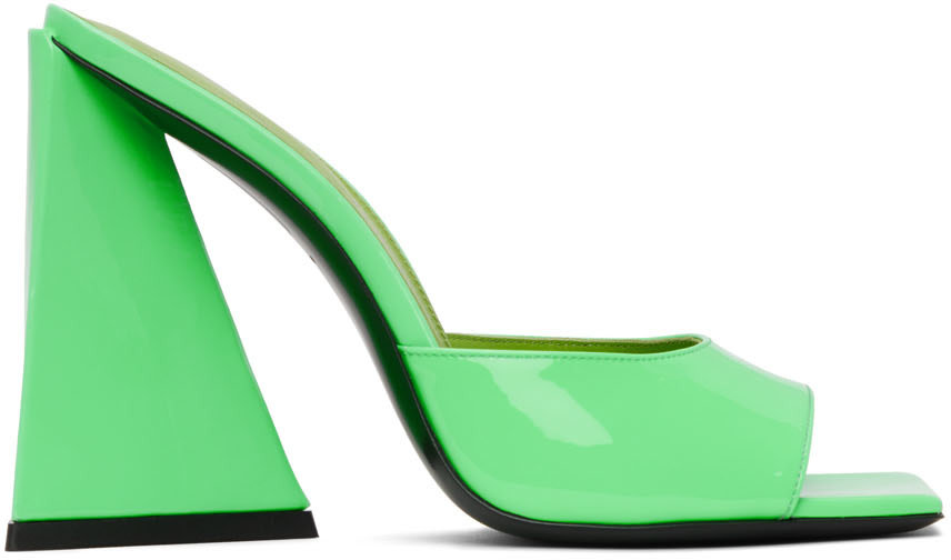 Green Patent Devon Heeled Sandals by Attico, available on ssense.com for $785 Kylie Jenner Shoes Exact Product