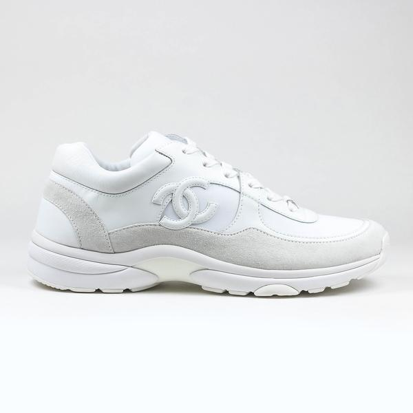 Logo Triple White Sneakers by Chanel, available on crepslocker.com for £775 Kylie Jenner Shoes Exact Product