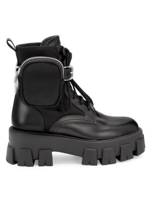 Lug Sole combat boots by Prada, available on saks.com for $1200 Kylie Jenner Shoes Exact Product
