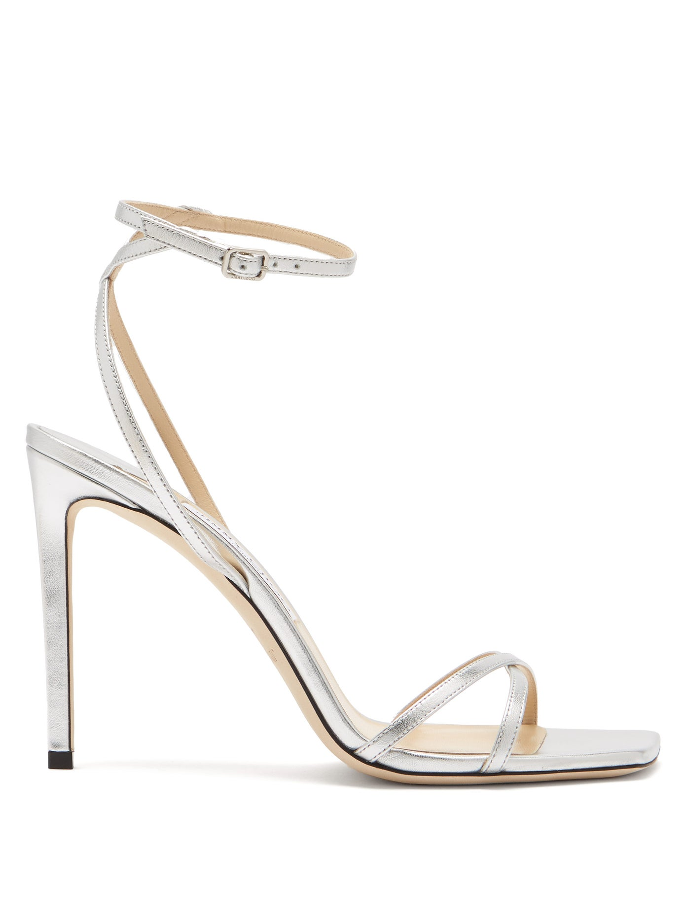 Metz 100 ankle-strap metallic leather sandals by Jimmy Choo, available on matchesfashion.com for $300 Kylie Jenner Shoes Exact Product