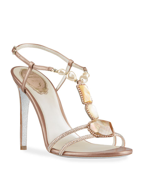 Mineral T-Strap Stiletto Sandals by Rene Caovilla, available on neimanmarcus.com Kylie Jenner Shoes Exact Product