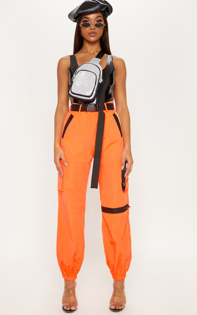 Neon Orange Shell Belted Pocket Detail Joggers by Pretty Little Thing, available on prettylittlething.com for £21 Kylie Jenner Pants SIMILAR PRODUCT