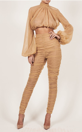 Nude Tulle High Waisted Ruched Trousers  High Neck Nude Tulle Blouse by The Doll's House, available on thedollshousefashion.com for £295 Kylie Jenner Top Exact Product