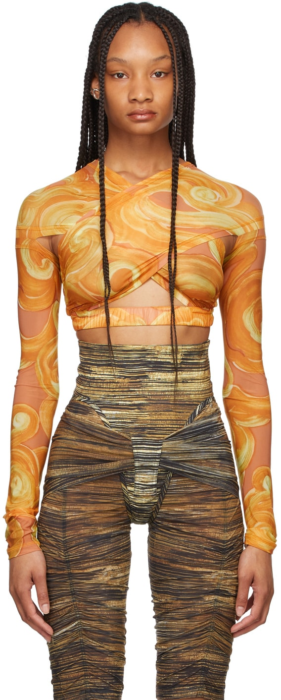 Orange Anti Cross Over Bustier Blouse by Charlotte Knowles, available on ssense.com for $415 Kylie Jenner Top Exact Product