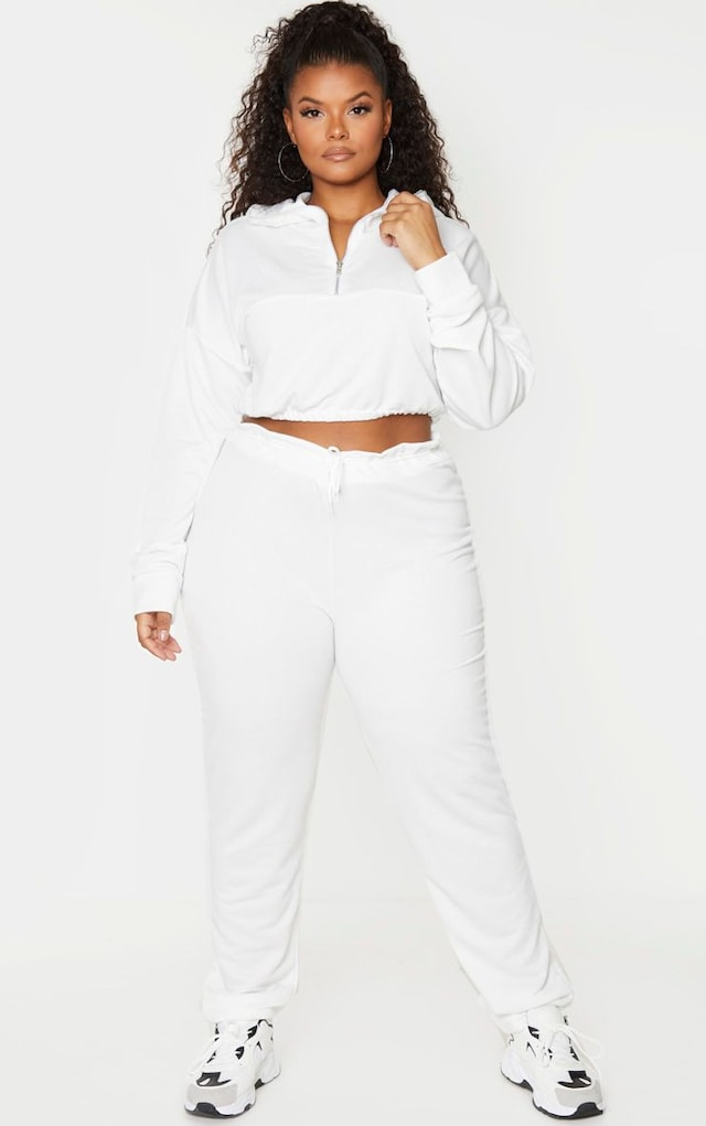 Plus Cream Sweat Toggle Waist Joggers by Pretty Little Thing, available on prettylittlething.com for $11 Kylie Jenner Pants SIMILAR PRODUCT