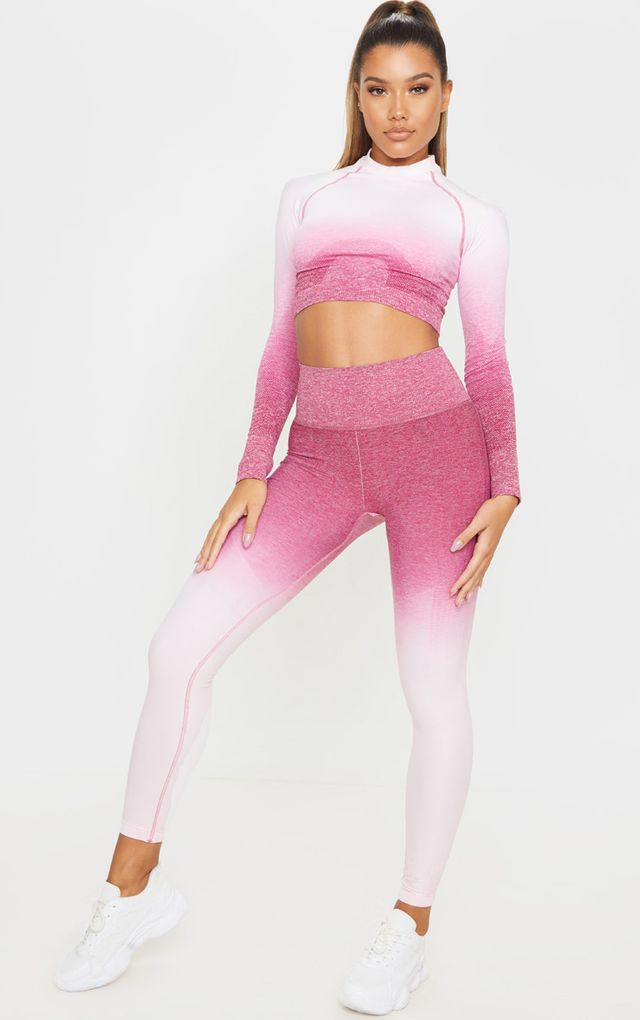 Raspberry Ombre High Waist Seamless Sports Legging by Pretty Little Thing, available on prettylittlething.com for $18 Kylie Jenner Pants SIMILAR PRODUCT