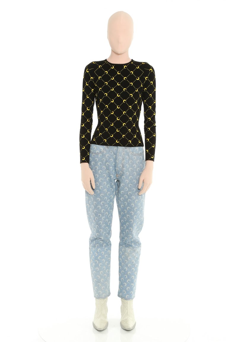 Short Jacquard Knit Sweater by Marine Serre, available on marineserre.com for EUR600 Kylie Jenner Top SIMILAR PRODUCT