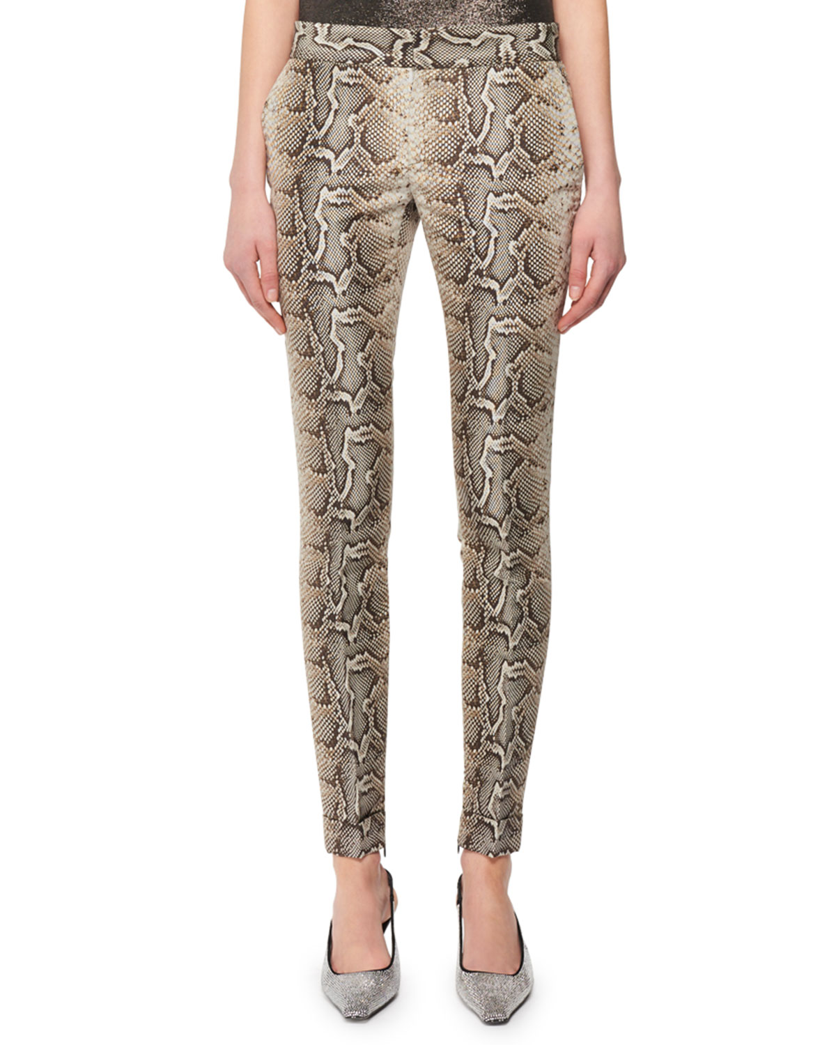 Snake-Print Stretch-Cotton Twill Skinny Pants by Tom Ford, available on neimanmarcus.com for $2200 Kylie Jenner Pants Exact Product
