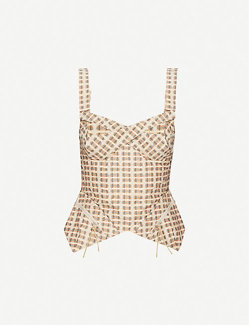 Tactical checked cotton-blend bustier top by CHARLOTTE KNOWLES, available on selfridges.com for £505 Kylie Jenner Top SIMILAR PRODUCT