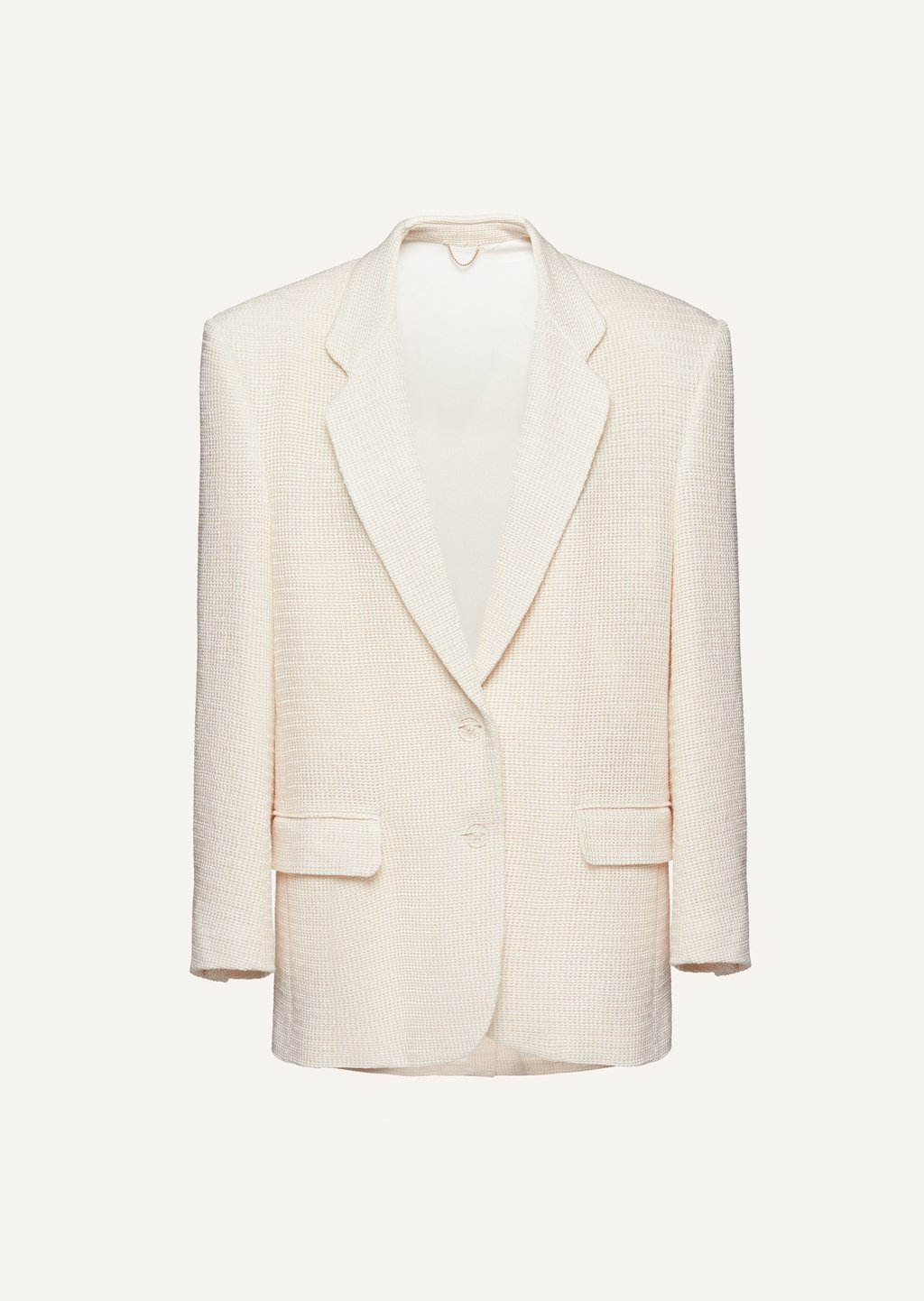 Tailored oversized handwoven blazer in cream by Magda Butrym, available on magdabutrym.com for $3035 Kylie Jenner Outerwear Exact Product