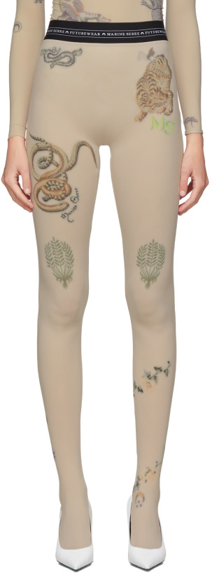 Tan Tattoo Leggings by Marine Serre, available on ssense.com for AUD515 Kylie Jenner Pants Exact Product