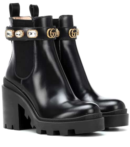 Trip leather ankle boots by Gucci, available on mytheresa.com for $749 Kylie Jenner Top SIMILAR PRODUCT