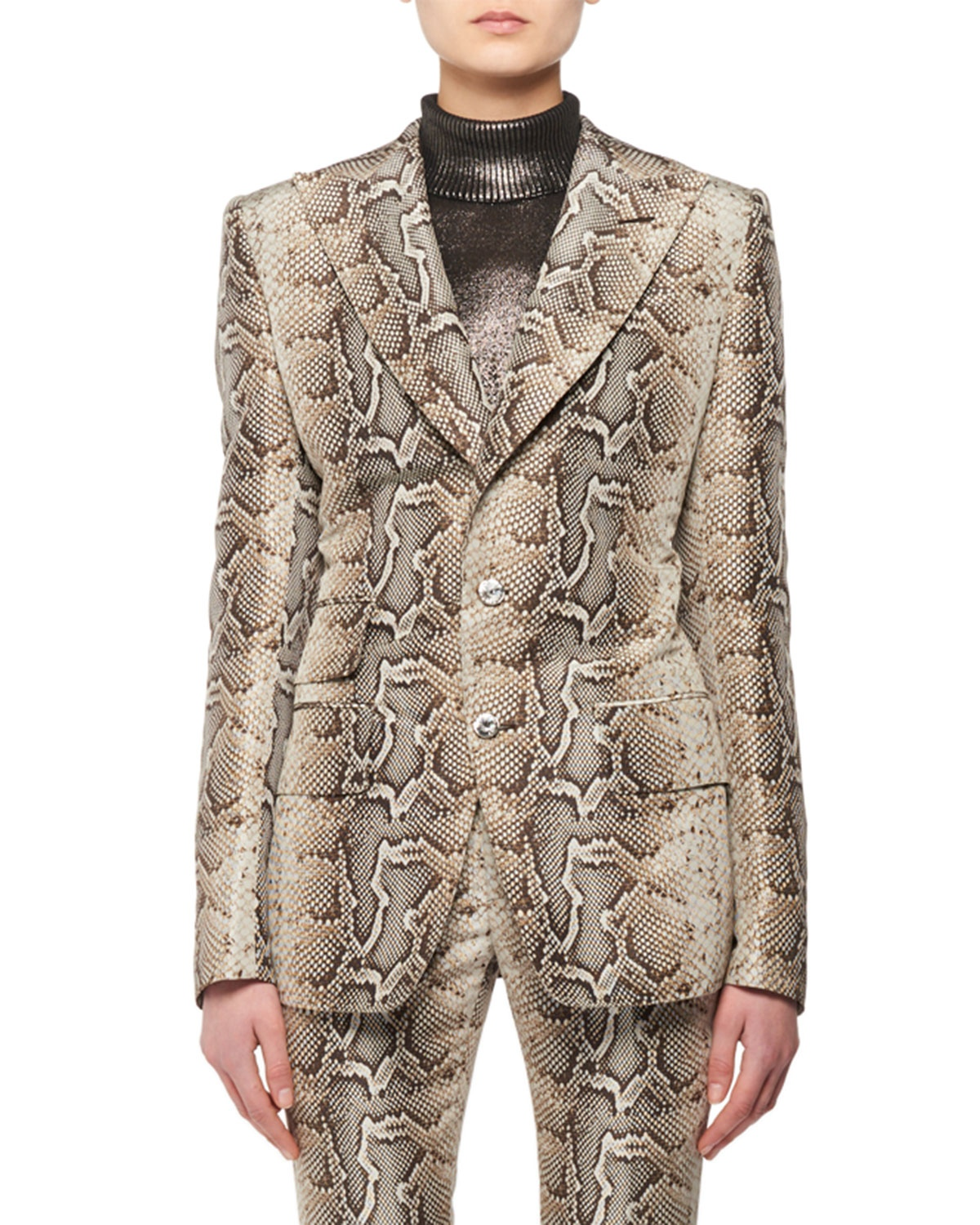 Two-Button Snake-Print Stretch-Cotton Twill Jacket by Tom Ford, available on neimanmarcus.com for $5250 Kylie Jenner Outerwear Exact Product