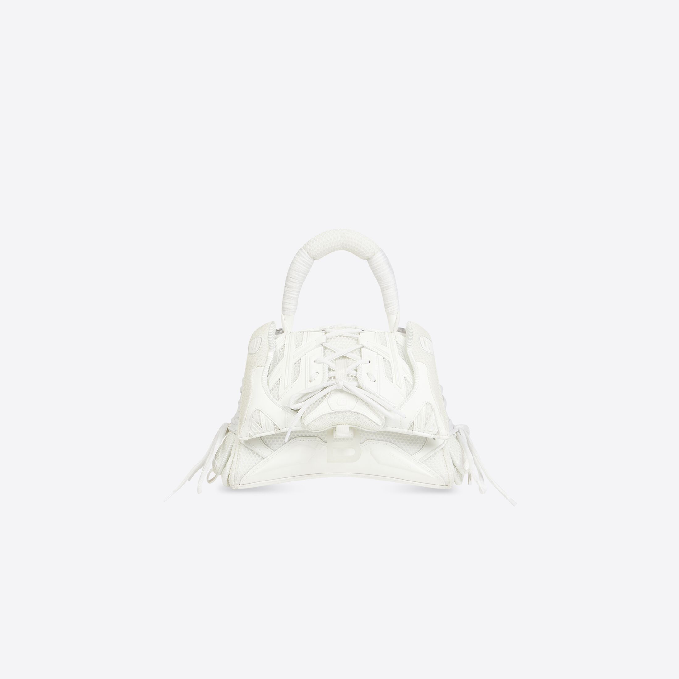 WOMEN'S PHOSPHORESCENT SNEAKERHEAD SMALL TOP HANDLE BAG IN WHITE by Balenciaga, available on balenciaga.com for $2150 Kylie Jenner Bags Exact Product