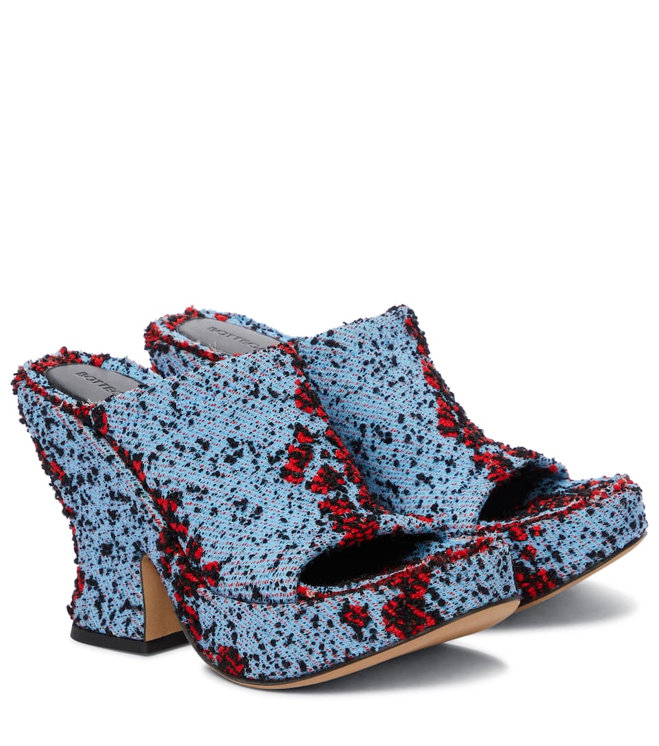 Wedge bouclé platform sandals by Bottega-Veneta, available on mytheresa.com for $1250 Kylie Jenner Shoes Exact Product